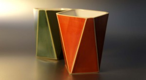 ceramic hack vases orange green yellow black