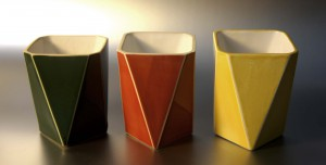 ceramic hack vases orange green yellow