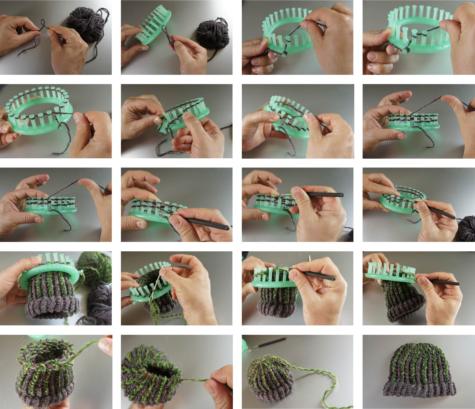 Step By Step Knitting Patterns : LOOM KNITTING - AUGENWESEN